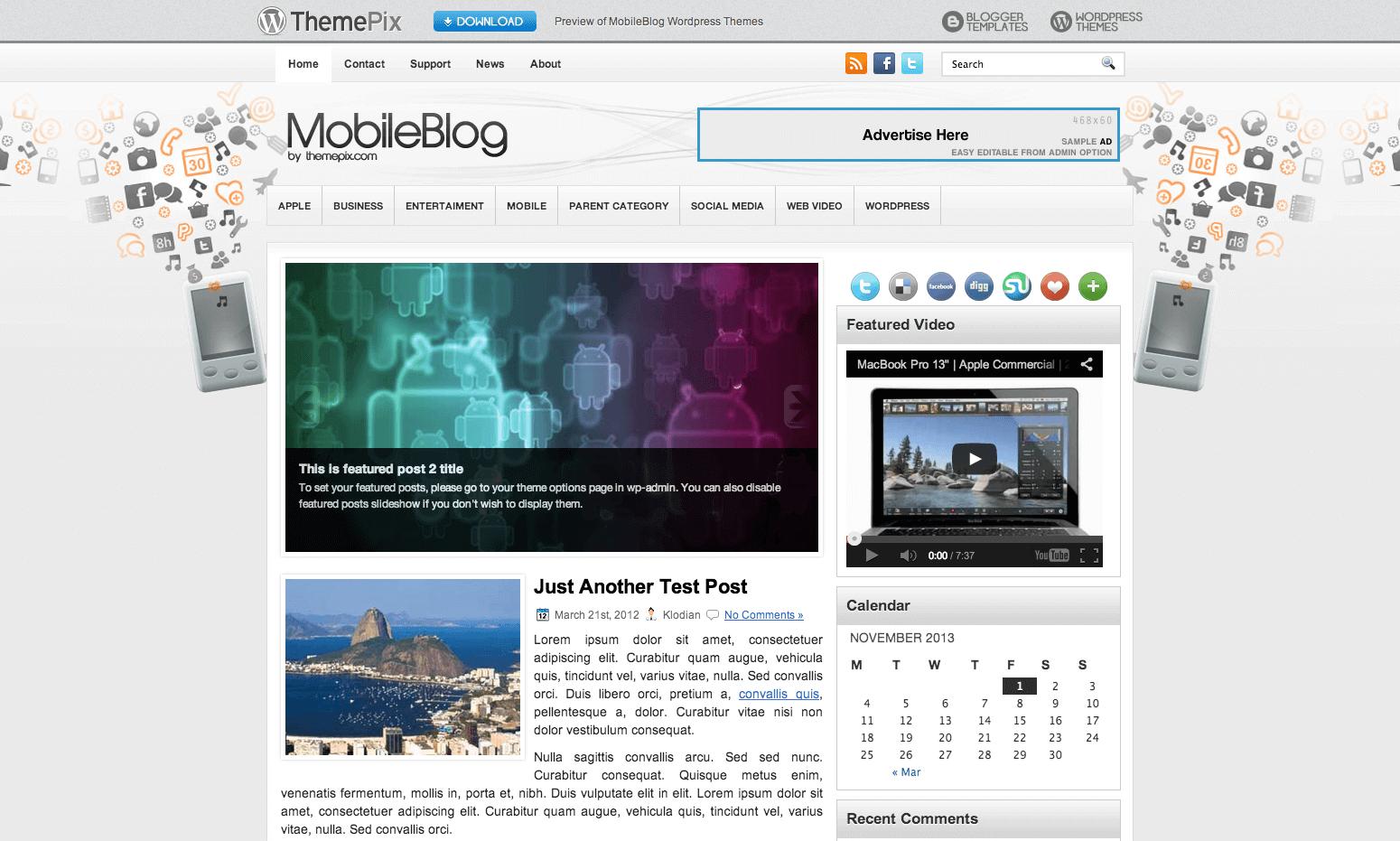 MobileBlog WordPress themes