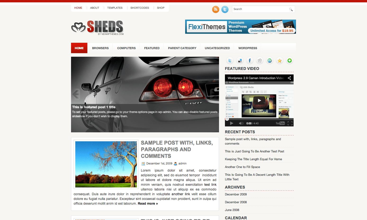 Sheds WordPress themes
