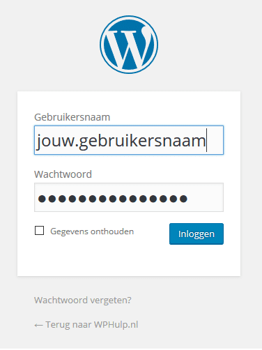 Inlogvenster WordPress
