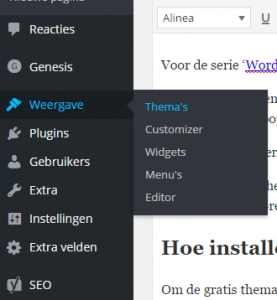 WordPress thema installeren stap 1