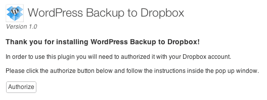 authorize dropbox om te backuppen