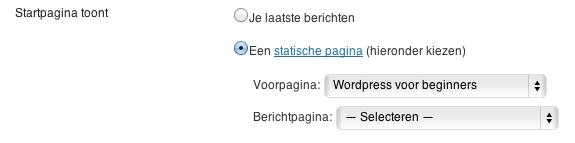 selecteer een pagina als startpagina