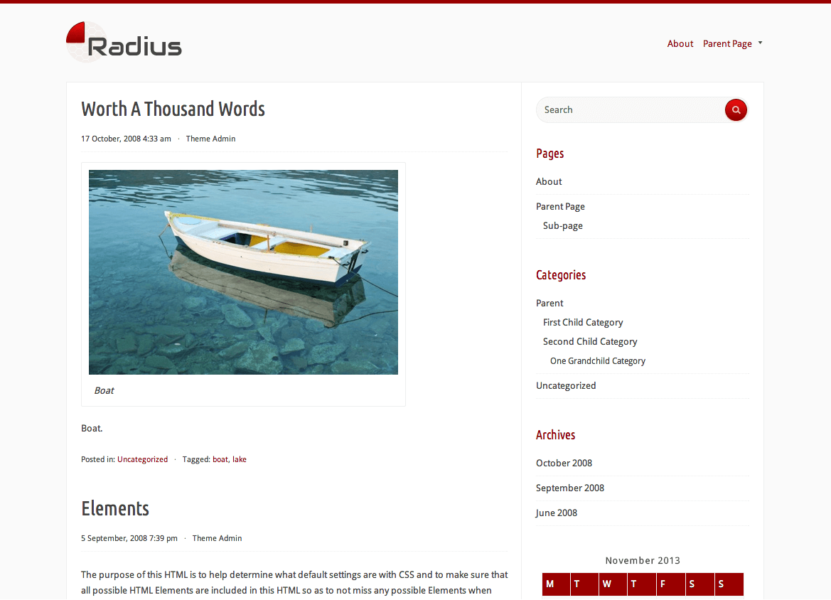 Radius gratis WordPress themes