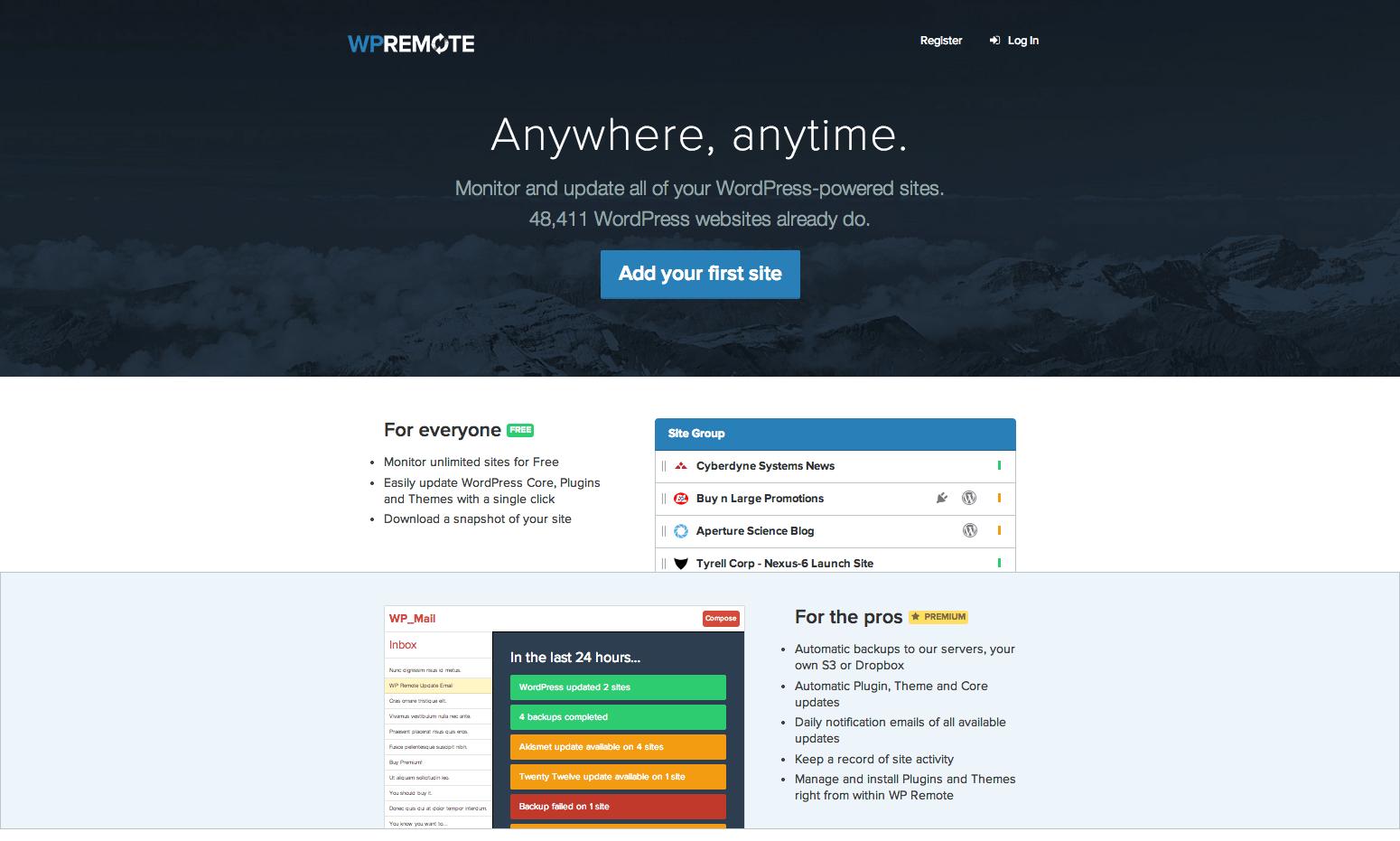 WPRemote.com homepage