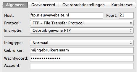 FTP verbinding opzetten
