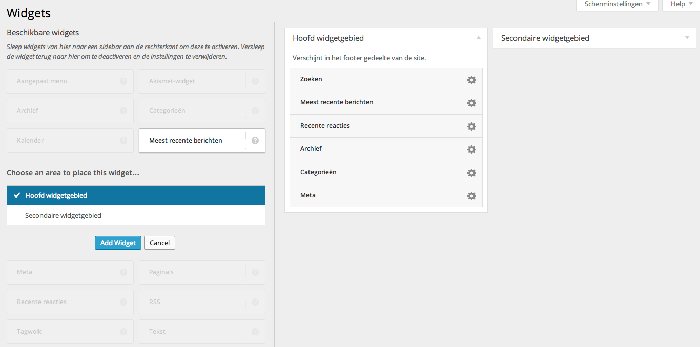 Widgets in WordPress 1.8