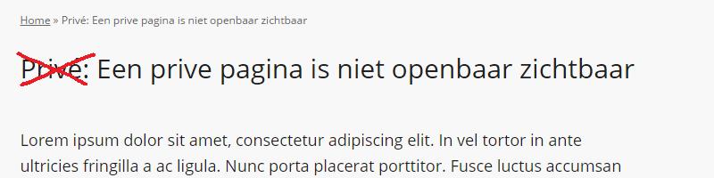 Privé verwijderen uit WordPress titel