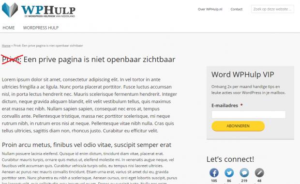 Verwijder privé uit WordPress pagina titel