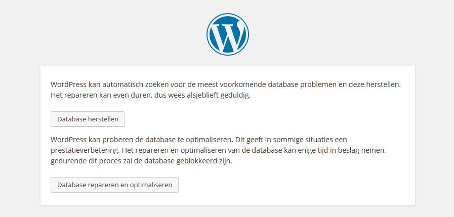 Database repair screenshot