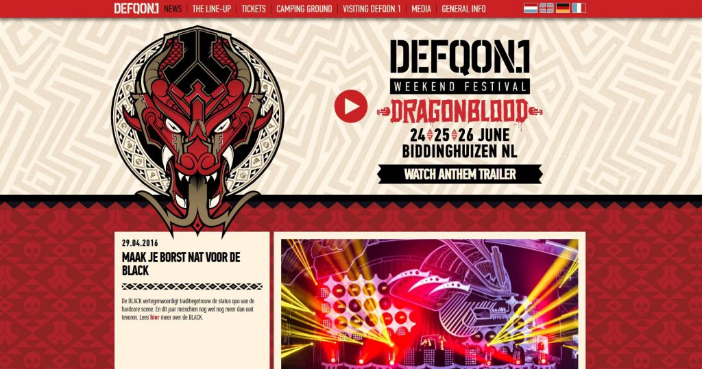WordPress website Defqon.1