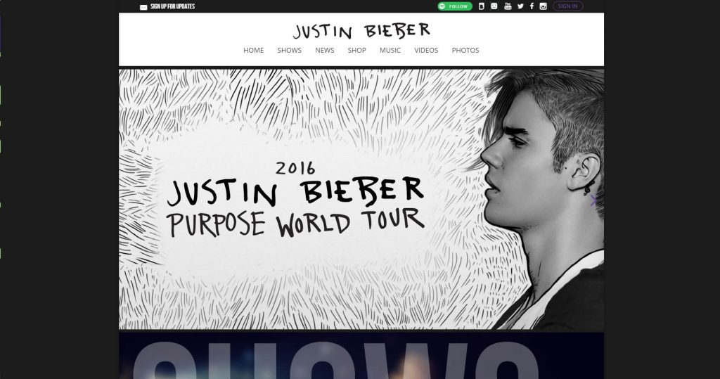 WordPress website Justin Bieber