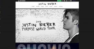 WordPress website Justin Bieber